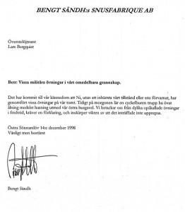 Till Överstelöjtnant Bergqvist